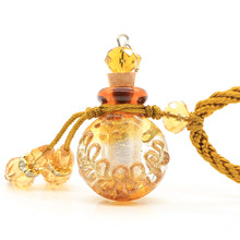 5 Pcs/lot Women Baroque Glass Pendant Necklace Aromatherapy Essential Oil Perfume Sweater Leather Necklace Jewelry(China)