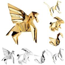 Fashion Gold Silver Geometry Origami Animal Brooches Metal Cat Rabbit Horse Bird 3D Pins Badge Corsage Jewellery