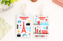 Kawaii London Street & Paris Tower 16*6CM Approx. Silicone Travel TAG , Luggage Name Tag Case ; Label Cards TAG Holder Pouch(China)