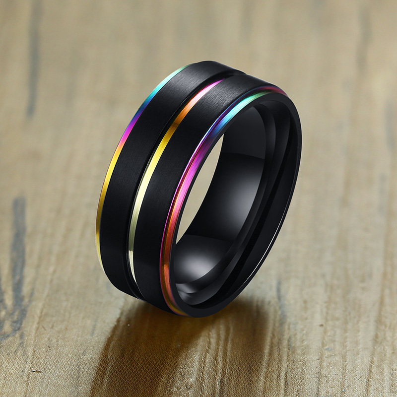 Lucky Rainbow Stainless Steel Ring