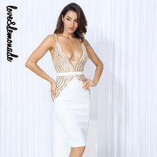 Love&Lemonade  Sexy Gold Symmetrical Sequin V Collar Halter Party Dress  LM0220
