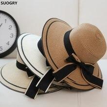 SUOGRY Sol Negro arco sombreros de verano para las mujeres plegable playa  de la paja Sombrero de Panamá Visor de ala ancha Femme. 4bcbcb9224e
