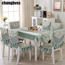 9pcs/set Embroidered Floral Table Cloth with Chair Covers Wedding Decor Tablecloth Rectangular Dining Table Covers Table Cloths(China)
