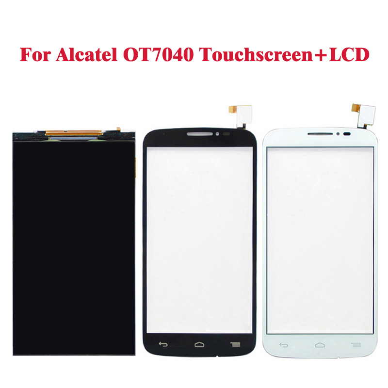 Black White LCD Display For Alcatel one touch pop C7 7040 OT7040 7041 +Touch Screen Digitizer Assembly Replacement <br><br>Aliexpress