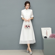 Beautiful 2017 Free Shipping New Spring And Summer Folk Style Cheongsam Collar Short Sleeved Dress Retro Modified White Dresses
