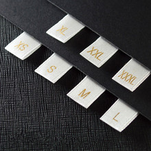 500pcs Big Size Satin Label Tags Gold Size with Cut and Folded (S-XXXL) Soft Satin Clothing Tags White Satin Size Care Labels