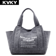Buy KVKY Brand Vintage Canvas Women Handbags Large Capacity Design Ladies Tote Bag Solid Shoulder Bag Casual Travel Bag Bolsos Mujer for $16.19 in AliExpress store