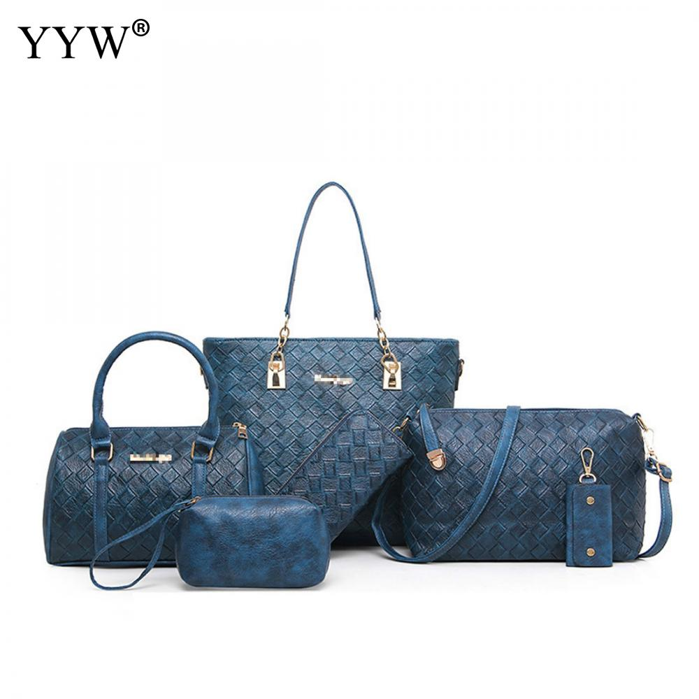 YYW Hot Leather 6 Pieces Bag Sets Solid Women Shoulder Bags Handbags Femme Satchel Tote Variety Bags For Lady High Quality<br>
