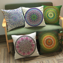 45*45 cm Square Indian Mandala Style Printed Pillows Bohemian sofa Cushions Pillows Case Case color textile pillow