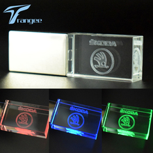 Trangee Transparent Crystal USB Flash Drive 4GB 8GB 16GB 32GB Car USB Stick for Skoda USB 2.0 Memory Drive Stick Pen/Thumb/Car