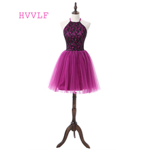 Purple 2017 Homecoming Dresses A-line Halter Short Mini Tulle Beaded Lace Open Back Elegant Cocktail Dresses(China)