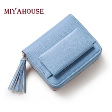 Miyahouse Women Mini Wallets Female Tassel Pendant Short Money Wallets PU Leather Lady Zipper Coin Purses Fashion Card Holders(China)