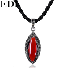 EDI Women's pendant necklace Vintage Thai 925 sterling silver Natural Garnet Gemstone Pendant Necklace Jewelry for party or gift(China)