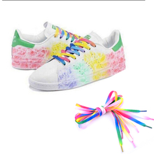 1pair 2PC Multi colors Rainbow Flat Canvas Athletic Shoelace Sport Sneaker Shoe Laces Boots Strings