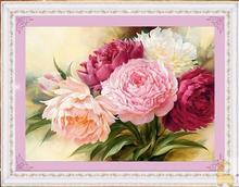 2016 Diy 5D diamond painting cross stitch Peony flowers Round diamond kits Diamond Embroidery Mosaic House Decoration gift