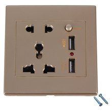 86x86x35mm Gold AC110-250V 2 USB Port Wall Socket Charger & Switch Control & 5 Hole AC Power Receptacle Outlet Plate Panel
