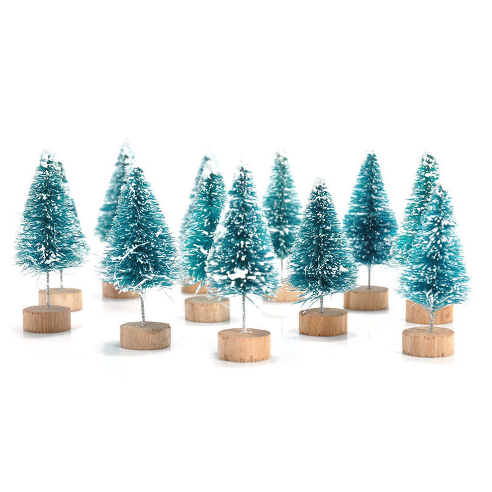 Bottle Brush Trees 49 Pcs Miniature Sisal Snow Frost Trees with Wood Base for Christmas DIY Craft Party Decoration TRRAPLE Artificial Mini Christmas Trees