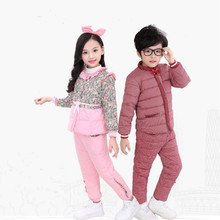 The New Childrens Jacket Suit Winter Girl Baby Pants Down Liner Down Two Sets