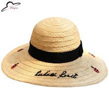 Fashion Flamingo Embroidery Women Sun Hats 2017 New Raffia insect Beach Hats For Girls Summer Chapeau Femme