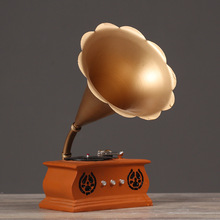 Vintage Resin Decoration Miniature Phonograph Model Furniture Craft Ornaments Bar Coffee Home Decoration Christmas Gift Craft(China)