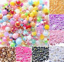 5000pcs Mixed AB Size from 2-10mm Craft ABS Resin Flatback Half Round Pearls Flatback Scrapbook Beads(China)