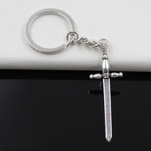 99Cents Keychain 59*19mm sword fencing Pendants DIY Men Jewelry Car Key Chain Ring Holder Souvenir For Gift