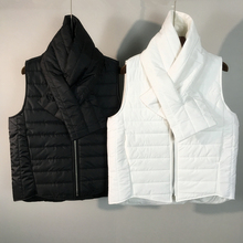 Quilted Puffer Vest Women Zipper Sleeveless Vest Waistcoat Winter Lightweight Gilet Quilted Padded Vest With Scarf 2017(China)