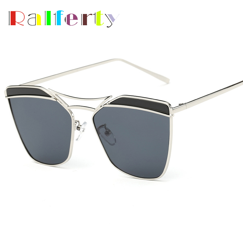 Ralferty Fashion Ladies Mirrored Sunglasses Women Oversized Butterfly Metal Flat Top Sun Glasses For Woman Oculos lunettes 2235<br><br>Aliexpress