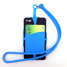 1 x Silicone Lanyard Moblie Phone Straps Cell Phone Holder Sling Necklace Wrist Strap Mobile Phone Holder with Card Holder P25(China)