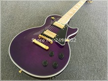 Best Electric guitar LP custom see thru purple,maple neck and fingerboard,gold parts,black pickguard,block inlay,high grade!