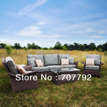 2017 Best Sale Concord Poly Rattan 5 Seater Patio Furniture Sofa Sectional