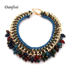 Indian Design Fashion Weaving Chokers Necklaces For Women 2016 Statement Jewelry Knit Chain Resin Beads Bib Necklaces N2518