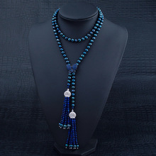 92cm Long Pearl Necklace With Lapis Lazuli Tassel Pendant Autumn Winter Season Coat Dyed Black Pearl Necklace Women Pearl Gifts