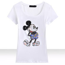 Candy Rain Fashion Brand T-shirt Women Short Sleeve Summer Cotton T shirt Hand Beading Diamonds T-shirt Cartoon Tops Tees 8615
