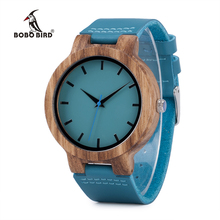 BOBO BIRD C28 Mens Zebra Wood Wristwatch Blue Dial Leather Quartz Watches in Gift Box Relogio Masculino Mujer 2016(China)