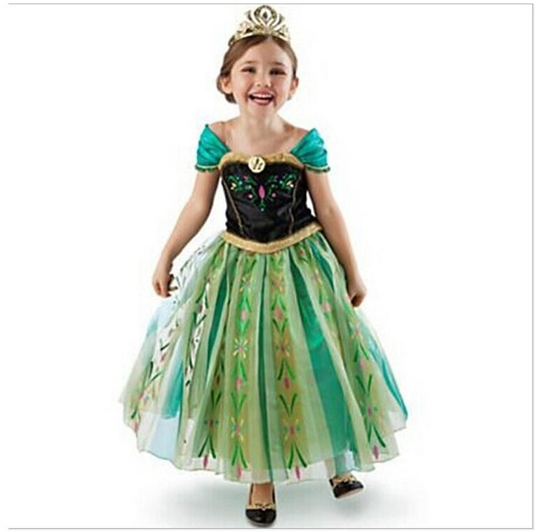 3-9 Years Girls Cartoon Green Cosplay Snow Queen Princess Dress Elsa  Dresses  Anna Costume Baby Children Clothes Kids Clothing<br><br>Aliexpress