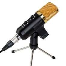 Black Microphone 3.5mm USB Cardioid Condenser Microphone Audio Studio Vocal Recording Mic Broadcasting Microphone + Mount Stand