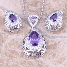 Fascinating Purple  Cubic Zirconia White CZ Silver Earrings Pendant Necklace   Jewelry Sets S0741