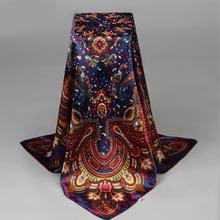 2016 New Fashion Ladies Big Square Silk Scarf Print Women Brand Wraps Hot Sale Spring Summer Scarves India Floral Headband Shawl(China)