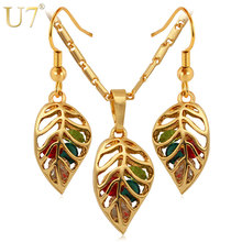 U7 Fashion Crystal Necklace Set Women Party Gift Gold Color Colorful Leaf Necklace Earrings Jewelry Sets S408(China)