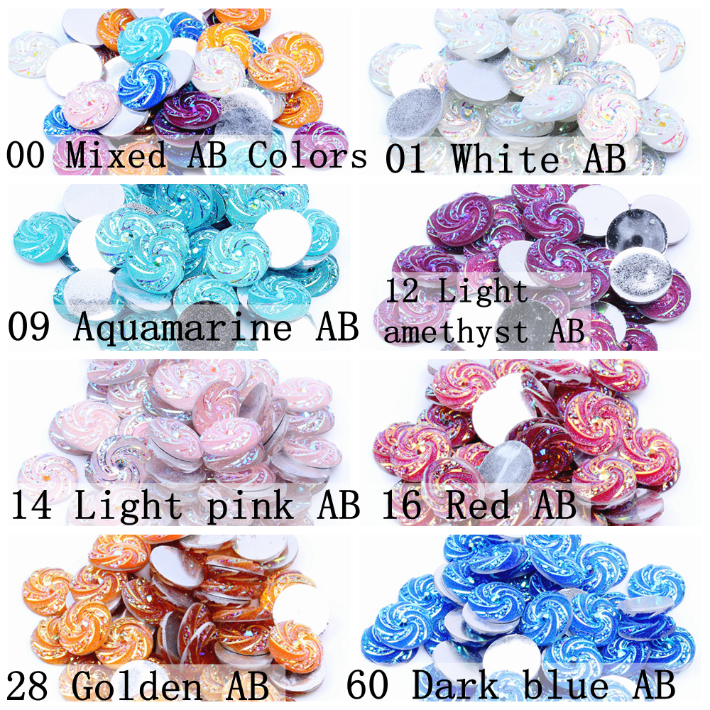 50 Flatback Resin Dotted Dome Rhinestone Gem Cabachons 16mm Clear Mixed Color