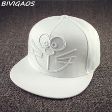 2016 Summer New Couple Black White Doraemon Bones Snapback Hats Cat Smiling Face Sun Hat Hip Hop Cap Baseball Caps For Men Women(China)