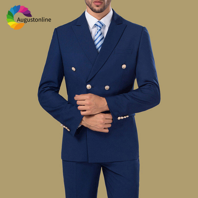 Tailored Made Navy Blue Men's Classic Suit Casual Groom Wedding Suits Double Breasted Blazer Slim Fit Man Tuxedos 2Pieces Ternos