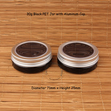 60pcs/Lot Wholesale 30g Black PET Cream Jar with Silver Aluminum Cap 30 Gram Women Cosmetic 1/3OZ Facial Mask Container(China)