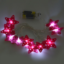 Hot Sale 10 LEDs 1.5M Fairy String Lantern Lights Battery Operated Star Shape String Light Home Christmas Garden Decoration Lamp