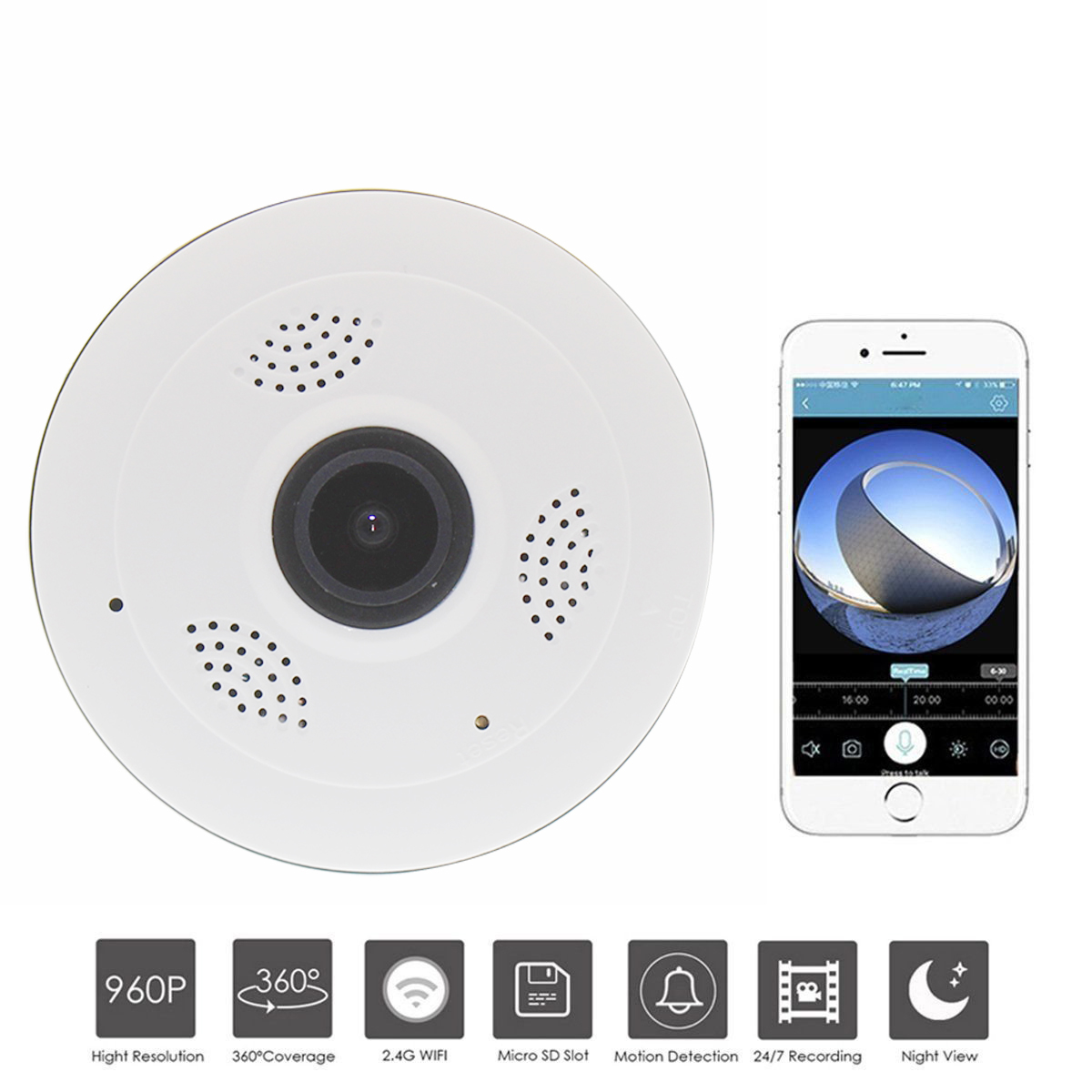 Security Wireless Camera Home Surveillance Camera Baby Monitor Globe Panoramic 1.3MP Motion Home Office Surveillance Camera<br>