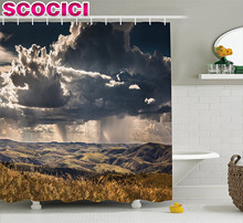 Farmhouse Decor Shower Curtain Puffy Clouds in Sky over Mountains Rough Valley Canyon Natural Wonders Concept Fabric Bathroom De