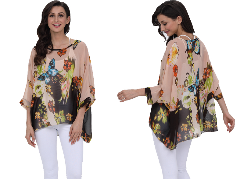 BHflutter 18 Women Tops and Blouses Plus Size Floral Print Casual Chiffon Blouse Boho Style Batwing Sleeve Summer Shirt Blusas 8