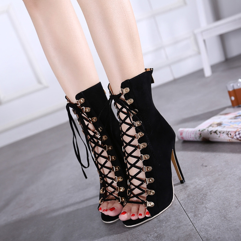 Women Lace up Sexy High Heels Ankle Boots Open Toe Shoes Booties Woman Spring Autumn Short Boots Black Stiletto Zg938-61<br><br>Aliexpress