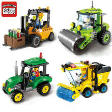 ENLIGHTEN City Series Forklift  Sweeper Car Truck Construction mini Educational Building Blocks Toys Compatible With legoed